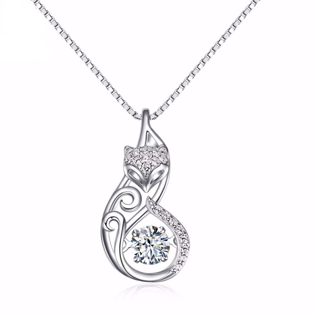 925 Silver Fox Pendant Necklaces with White Zircon Stone