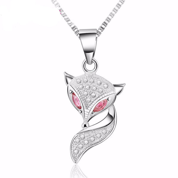 925 Sterling Silver Fox Pendant Charm Necklace