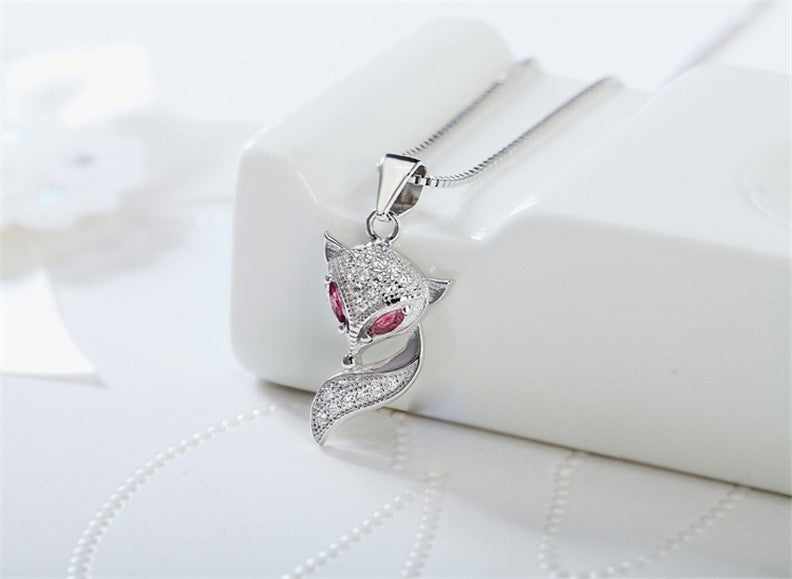 Sterling Silver Fox Pendant Charm Necklace
