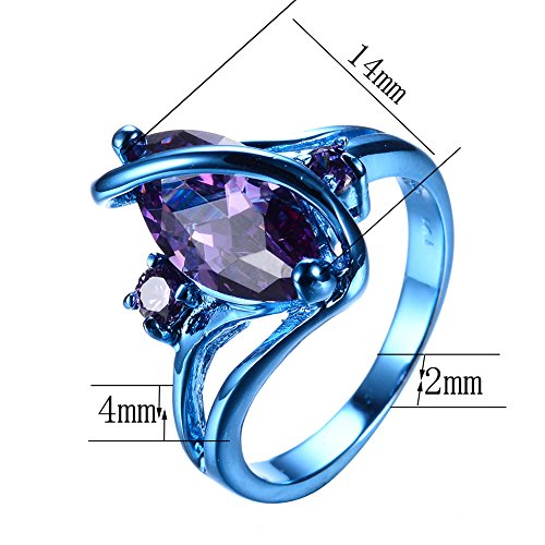 Marquise Purple Stone Cubic Zircon Engagement Promise Party Blue Gold Plated Women Ring Size 4-12