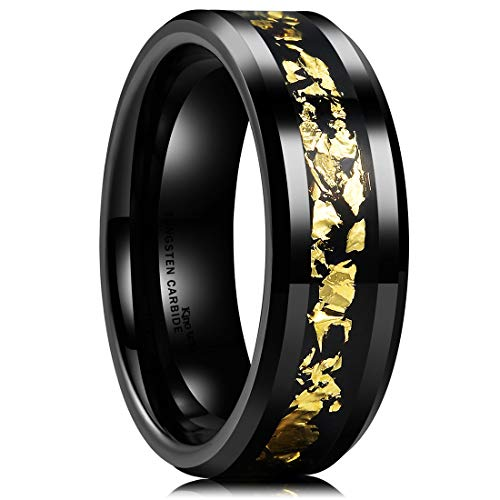 Men 8mm Black Tungsten Carbide Wedding Ring with Black and Gold Foils Inlay Beveled Edge - InnovatoDesign