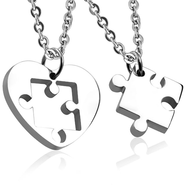 Silvertone Missing Piece to the Puzzle Heart Charm Necklace 2PC - InnovatoDesign