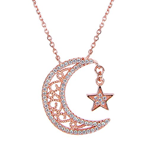 Sterling Silver CZ Bling Crescent Moon and Star Pendant Necklace Clear - InnovatoDesign