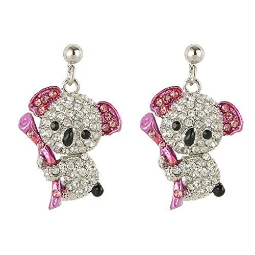 Austrian Crystal Cute Koala Dangle Earrings Silver-Tone