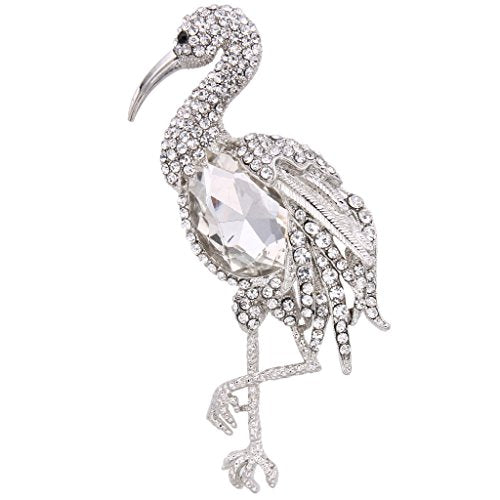 Rhinestone Crystal Standing Flamingo Bird Animal Brooch - InnovatoDesign