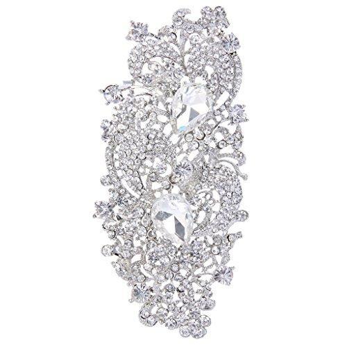 Austrian Crystal 4.1 Inch Royal Flower Pattern Wedding Brooch Clear