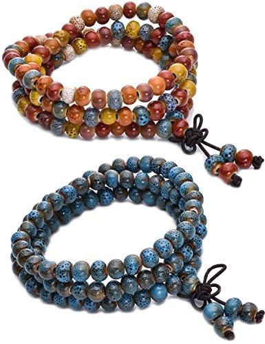 1-3Pcs 7MM Porcelain Beaded Bracelet for Men Women Buddha Bracelet Mala Elastic