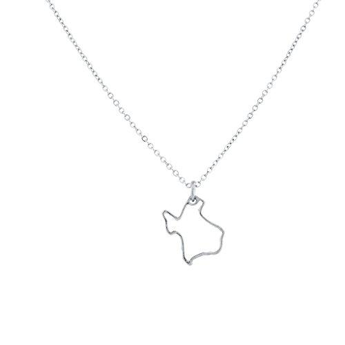 Accessories NY TX FL CA US State Outline Metal Novelty Charm Necklace