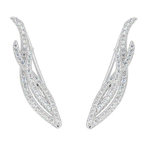 925 Sterling Silver CZ Art Deco Vine Sweep Ear Cuff Wrap Hook Earrings Clear 1 Pair