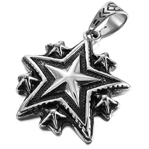Black Plated Stainless Steel Pentagram Star Pendant Necklace