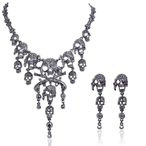 Austrian Crystal Vintage Style Skull Pirate Necklace Earrings Set
