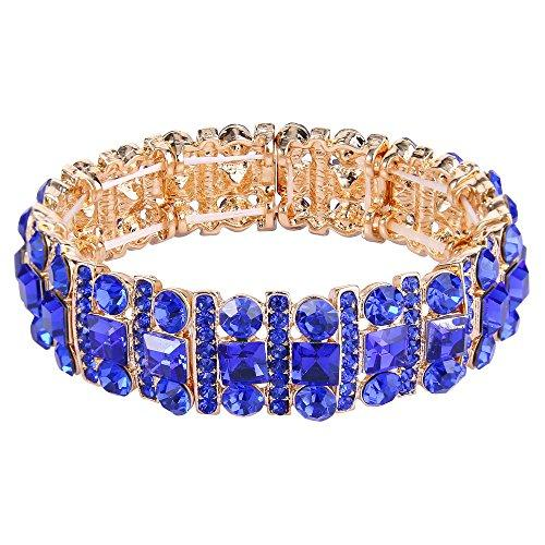 Austrian Crystal Art Deco Three Layers Bride Elastic Stretch Bracelet