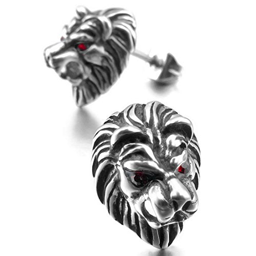 Men's Stainless Steel Stud Earrings CZ Silver Tone Black White Red Lion - InnovatoDesign