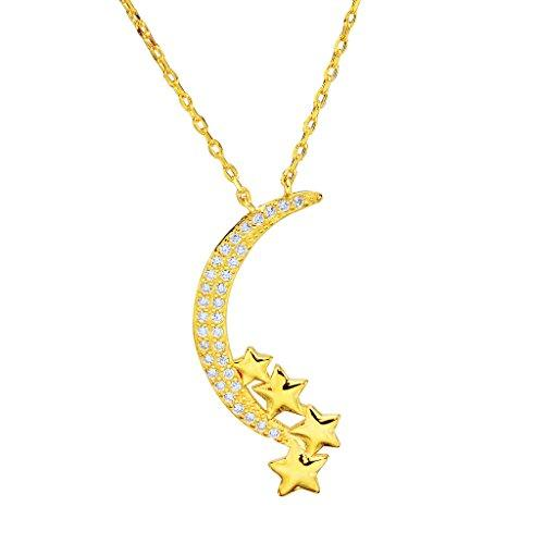 925 Sterling Silver CZ Bling Crescent Moon and Star Pendant Necklace Clear