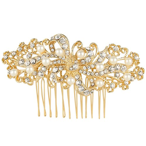 Wedding Leaf Decorative Ivory Color Simulated Pearl Hair Side Comb Clear Austrian Crystal - InnovatoDesign
