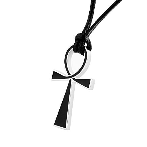 Black Stainless Steel Coptic Ankh Pendant Necklace Black Rope Chain