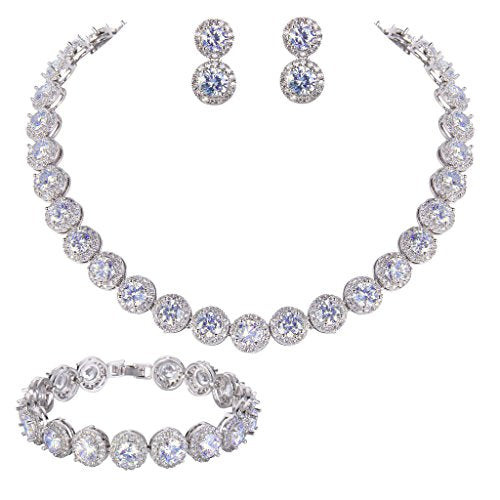 Silver-Tone Round Cut Cubic Zirconia Tennis Necklace Bracelet Earrings Set - InnovatoDesign