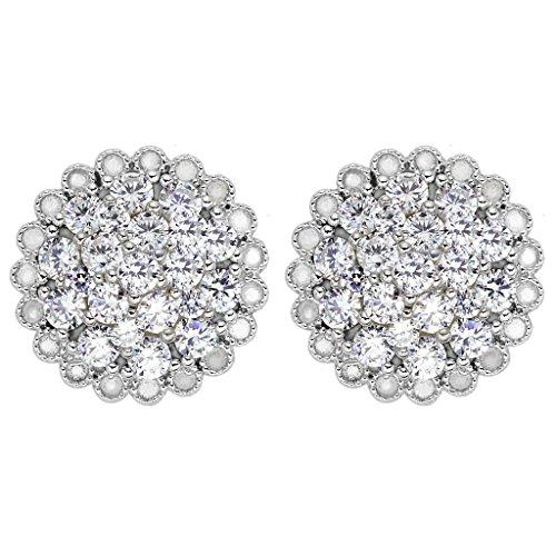 925 Sterling Silver Cubic Zirconia Luxurious Round Shape Flower Stud Earrings