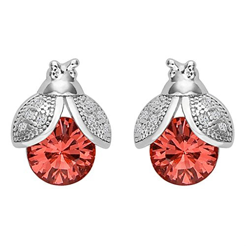 Sterling Silver CZ Lovely Ladybug Stud Earrings Adorned with Swarovski crystals - InnovatoDesign