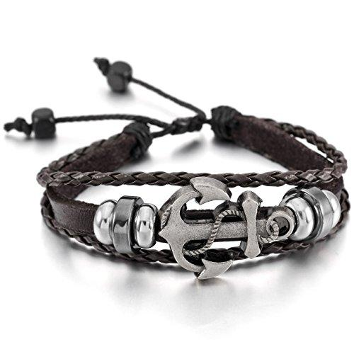 Alloy Genuine Leather Bracelet Bangle Cuff Cord Anchor Surfer Wrap Adjustable