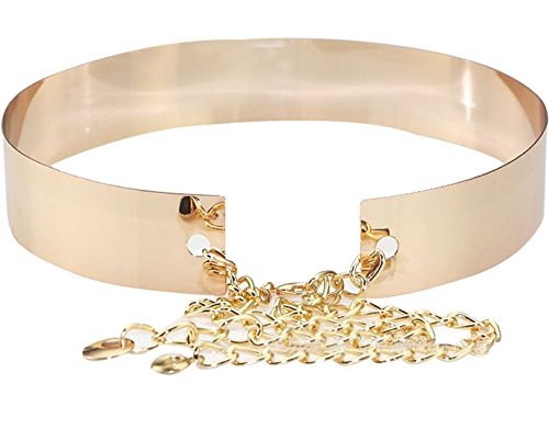 Metal Polished Plain Stone Filled Mirror Waist Adjustable Chain Belt In Silver Gold Tone - InnovatoDesign