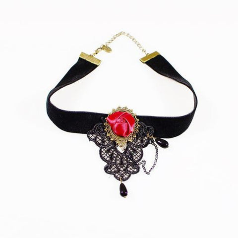 Black Lace Deep Rose Choker, Chokers, Pandora's Jewels Inc.