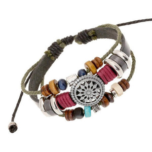 Wind Beaded Multilayer Leather Bracelets, Leather, Majestic Jewelry Co.