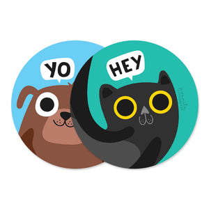 CAT DOG COASTERS - SET OF 2