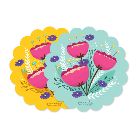 FLORAL COASTERS - SET OF 2