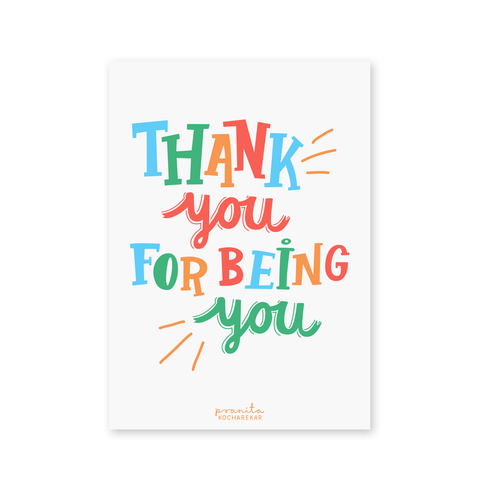 THANK YOU COLOURFUL POSTCARD