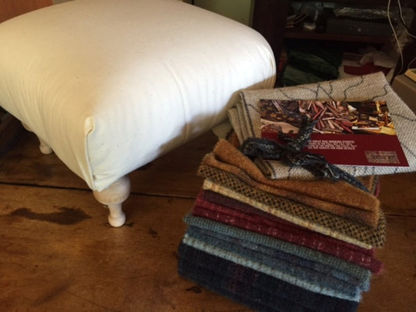 Pattern with UNCUT Wool Kits for stools