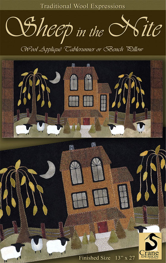 Sheep in the night appliqué pattern