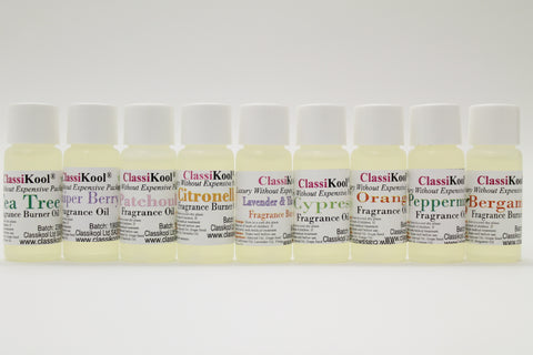 Classikool 9 x 10ml Fragrance Burner Oils: Home Scent / Aromatherapy Essential Oils (Choose 9 Oils)