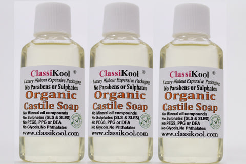 Classikool Organic Castile Liquid Soap Set with Essential Oils: 3 x 25ml: Lavender, Tea Tree & Peppermint