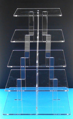 Classikool 5 Tier 5mm Thick Square Cupcake Wedding Party Cup Cake Display Stand