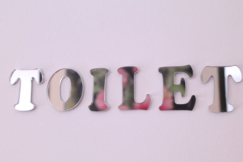 Classikool TOILET Letters Wall Door Sign Plaque Acrylic Mirror Child Safe Set
