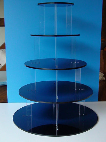 Classikool Gloss Black 5 Tier 5mm Thick Acrylic Cup Cake Stand