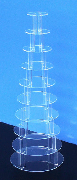 Classikool 10 Tier 5mm Thick Circle Wedding Cupcake Acrylic Display Stand
