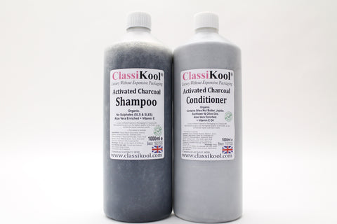 Classikool Activated Charcoal 1L Shampoo & 1L Conditioner Set: Natural Hair Care