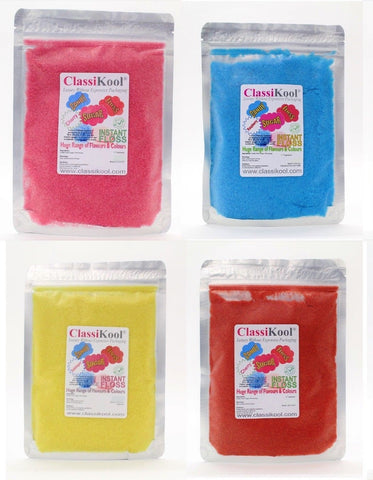 "Classikool x4) 250g ""KIDS LOVE 'EM!"" Candy Floss Sugar Party Set"