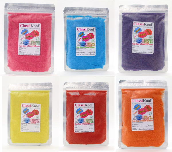 Classikool 250g Candy Floss Sugar: Choose Flavour & Colour (White, Black, Blue, Brown, Green)