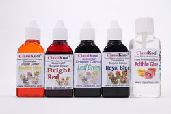 Classikool Food Colouring Sets of 4: Gel, Droplet, Neon & Paste + Free Edible Glue