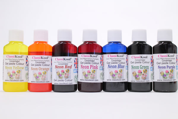 Classikool Concentrated Neon Gel Colours [Pack of 7] Unique 30g Colour Bottles
