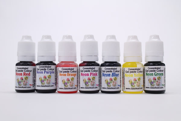 Classikool 10ml Neon Food Gel Colouring for Sugarpaste Icing & Baking