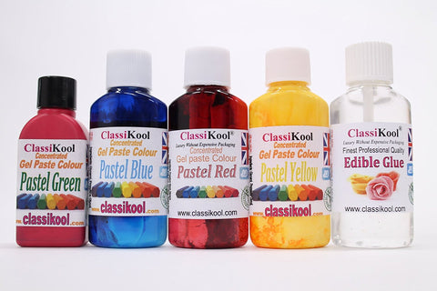 Classikool Food Colouring Sets of 4: Gel, Droplet, Neon & Paste + Free