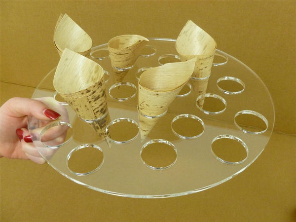 Classikool Acrylic Handheld Food Tray Canape Buffet Cone Holder For Wedding Events