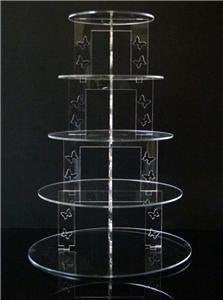 Classikool 5 Tier Circle Butterfly Acrylic Cup Cake Party Wedding Stand - TK5C B/FLY