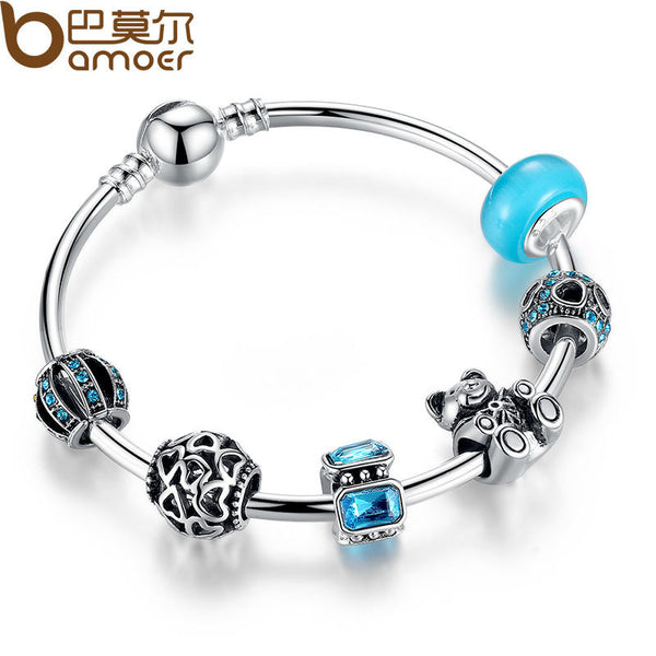 BAMOER Silver Charm Bangle with Bear Animal & Open Your Heart Charm Bracelet Blue Glass Friendship Bracelet PA3069