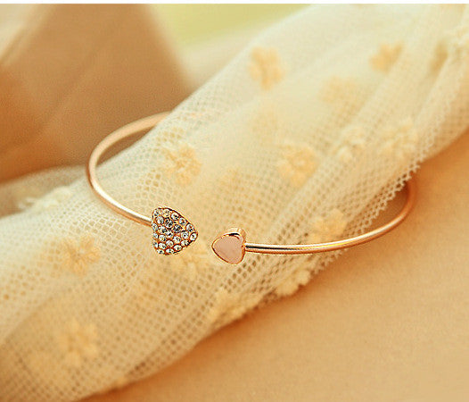 Mix wholesale.2014 New heart crystal love opening gold Siliver plated bracelet crystal bracelets bangles for women