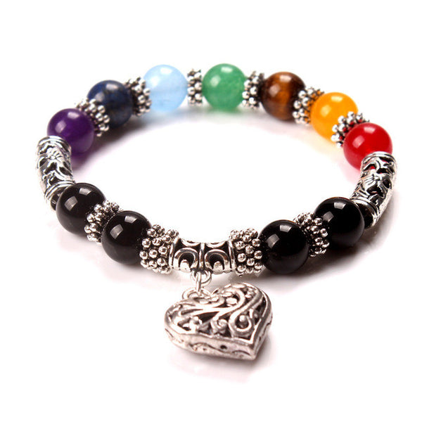 2016 New Mens Womens 7 Chakra Bracelets Bangle Mixed Healing Crystals Stone Chakra Pray Mala Heart Charm